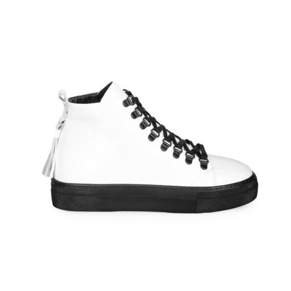 Sneaker Boots-Leder -Weiße und schwarze -1