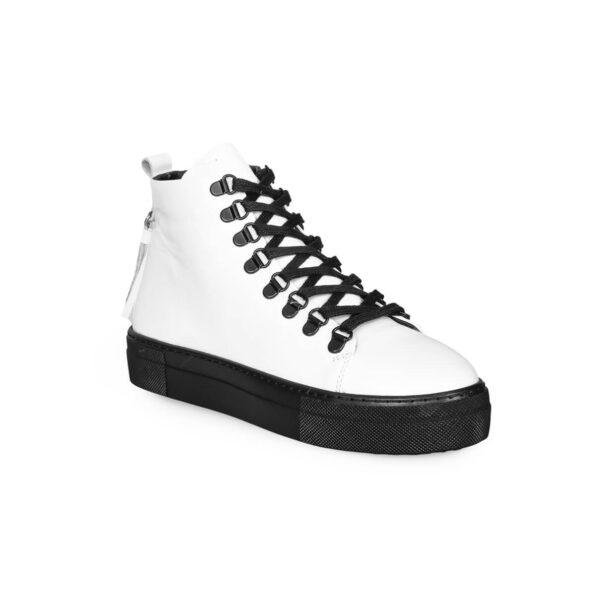 Sneaker Boots-Leder -Weiße und schwarze -2