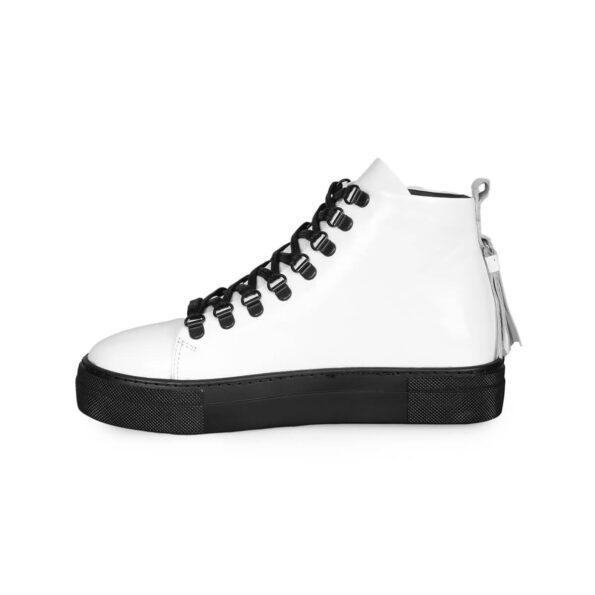 Sneaker Boots-Leder -Weiße und schwarze -3
