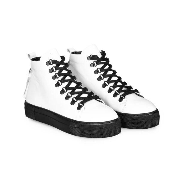 Sneaker Boots-Leder -Weiße und schwarze -4