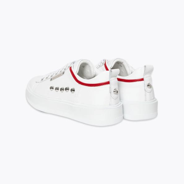 Sneaker für Herren Weiss-rot mit niete-2