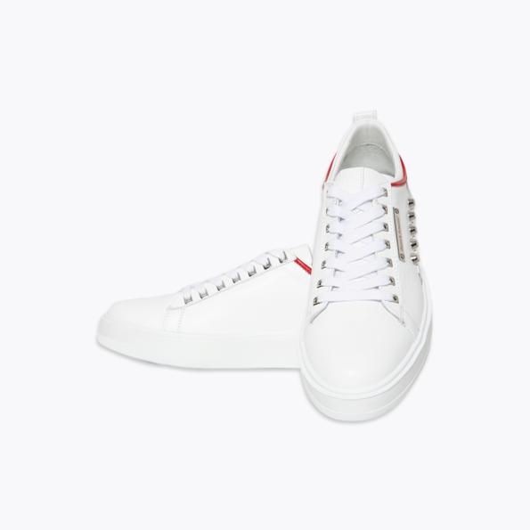 Sneaker für Herren Weiss-rot mit niete-3