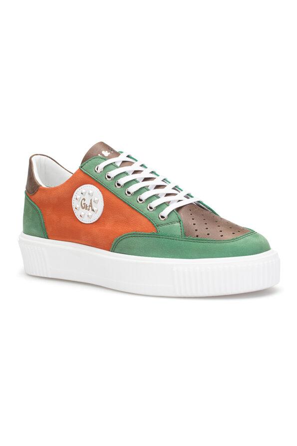gianni&armando_herren_leder_sneakers_grun_orange