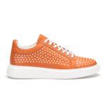 gianniarmando_herren_leder_sneakers_orange_weiss_punkte