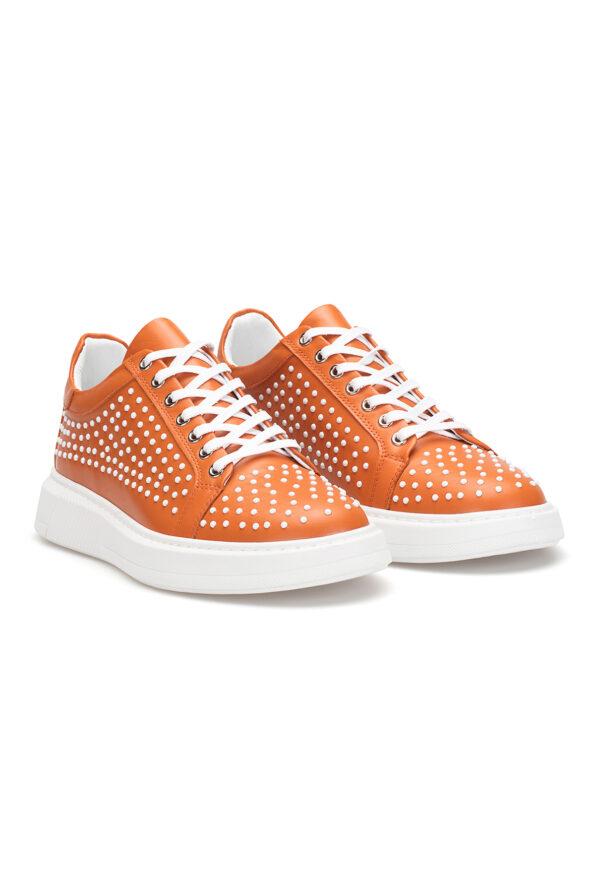 gianniarmando_herren_leder_sneakers_orange_weiss_punkte_02